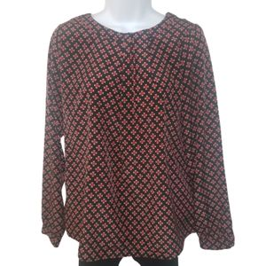Willi Smith peasant blouse red black tan S…